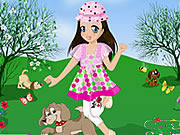 Play Little Girl And Her Puppy