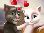 Play Talking Tom and Angela Kissing